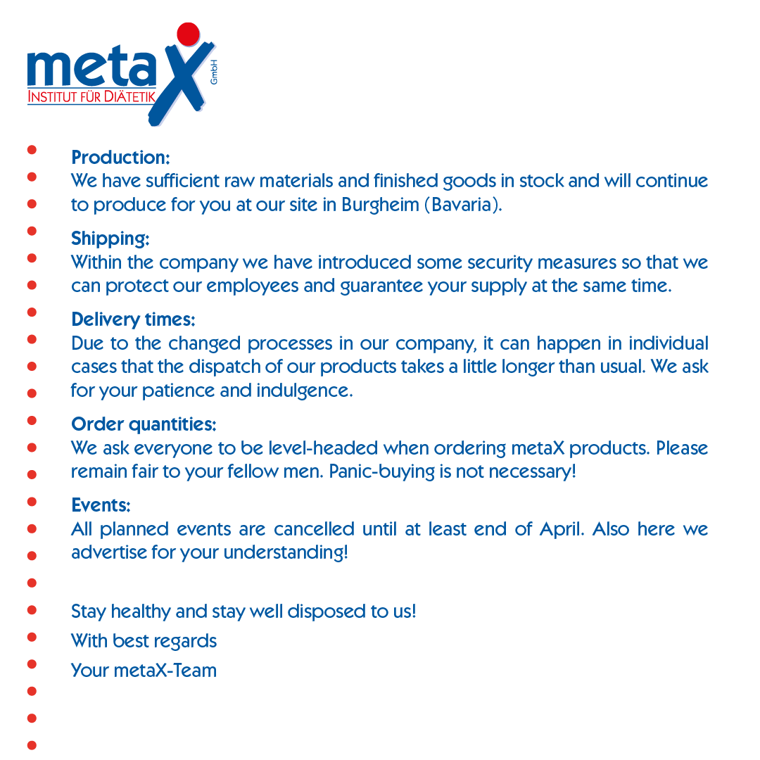 Information about production and delivery of the metaX products